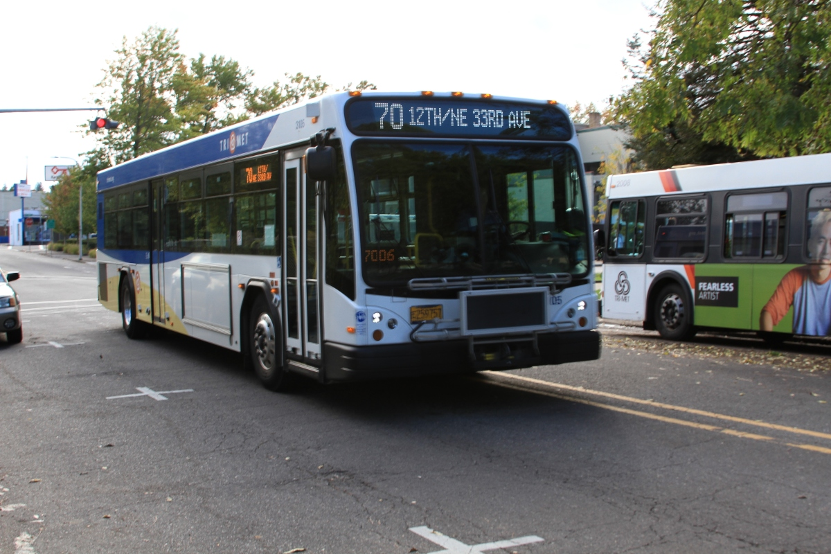Bus on Route 70 Heads North from Milwaukie